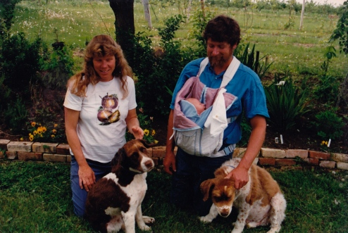 Marsha and Dave with baby Marnie, and dogs Nellie and Kahawa
