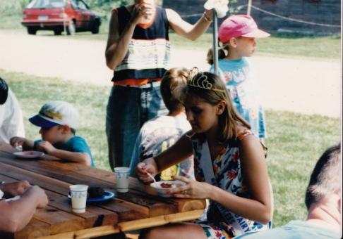 Dairy Princess enjoying some strawberries and ice cream