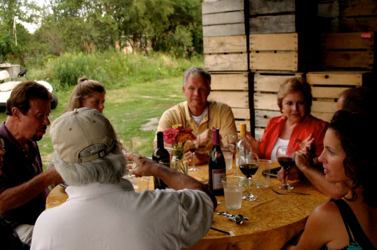 some guests enjoying one of our farm dinners