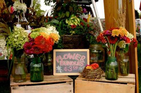 Flower bundles at the market