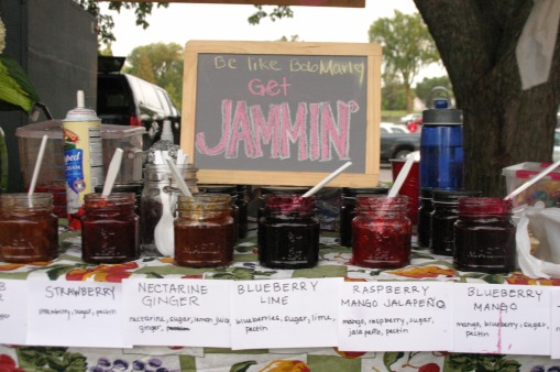Selling jam at the farmers market