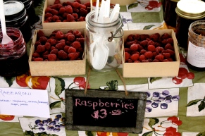 Raspberries for sale at the Annandale Farmers Market